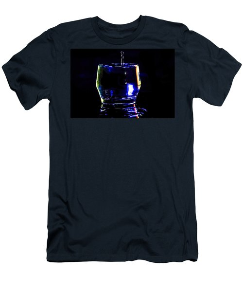 Stop Action Water Drop In Blue/yellow Light Men's T-Shirt (Athletic Fit)