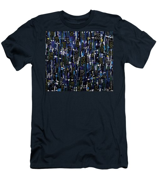Men's T-Shirt (Slim Fit) featuring the painting Stormy Night In The City by Teresa Wing