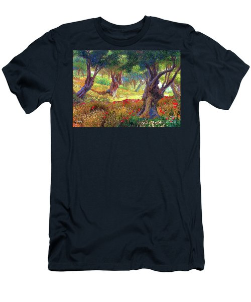 Men's T-Shirt (Slim Fit) featuring the painting Tranquil Grove Of Poppies And Olive Trees by Jane Small