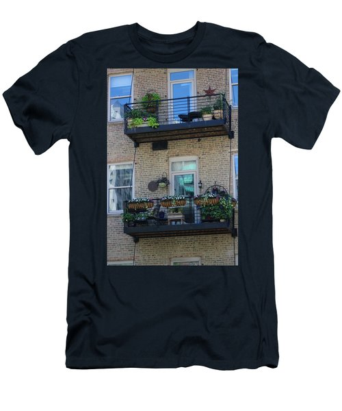 Summer Balconies In Chicago Illinois Men's T-Shirt (Athletic Fit)