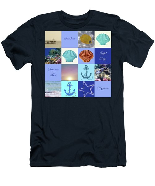 Summer Beach House Collage Men's T-Shirt (Athletic Fit)