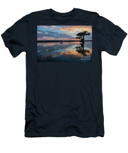 Men's T-Shirt (Slim Fit) featuring the photograph Sundown Kayaking At Lake Martin Louisiana by Bonnie Barry