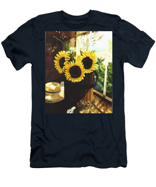 Men's T-Shirt (Slim Fit) featuring the painting Sunflower Sill by Renate Nadi Wesley