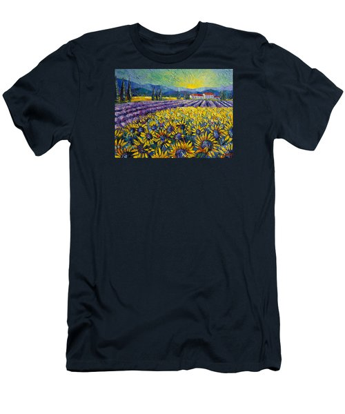 Sunflowers And Lavender Field - The Colors Of Provence Modern Impressionist Palette Knife Painting Men's T-Shirt (Athletic Fit)