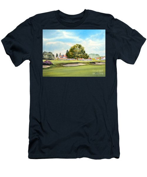 Men's T-Shirt (Athletic Fit) featuring the painting Sunningdale Golf Course 18th Green by Bill Holkham
