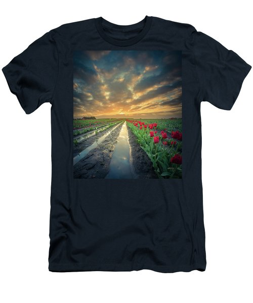 Men's T-Shirt (Athletic Fit) featuring the photograph Sunrise At Tulip Filed After A Storm by William Lee