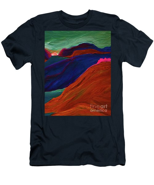 Men's T-Shirt (Slim Fit) featuring the painting Sunrise Castle 2  by First Star Art