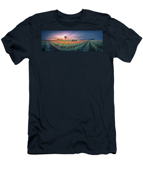 Men's T-Shirt (Athletic Fit) featuring the photograph Sunrise, Hot Air Balloon And Moon Over The Tulip Field by William Lee