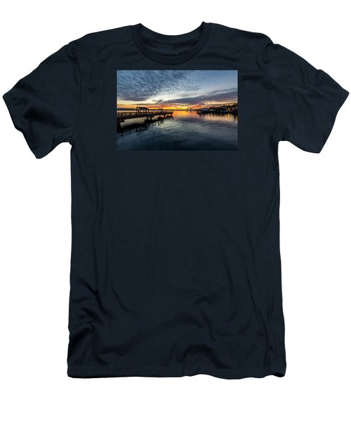 Men's T-Shirt (Slim Fit) featuring the photograph Sunrise Less Davice Pier by Rob Green