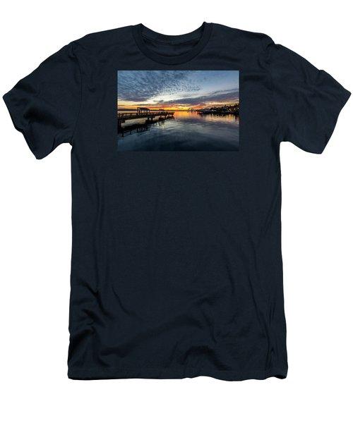 Sunrise Less Davice Pier Men's T-Shirt (Slim Fit) by Rob Green