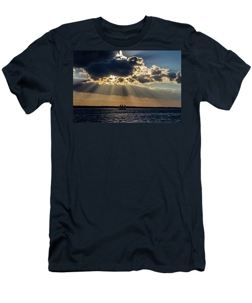 Sunset And A Three Masted Schooner Men's T-Shirt (Athletic Fit)