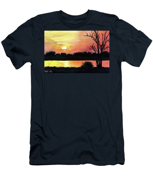 Men's T-Shirt (Athletic Fit) featuring the painting Sunset At Shire River In Malawi by Dora Hathazi Mendes