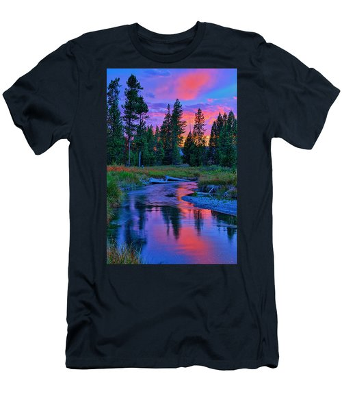 Sunset On Lucky Dog Creek Men's T-Shirt (Slim Fit) by Greg Norrell