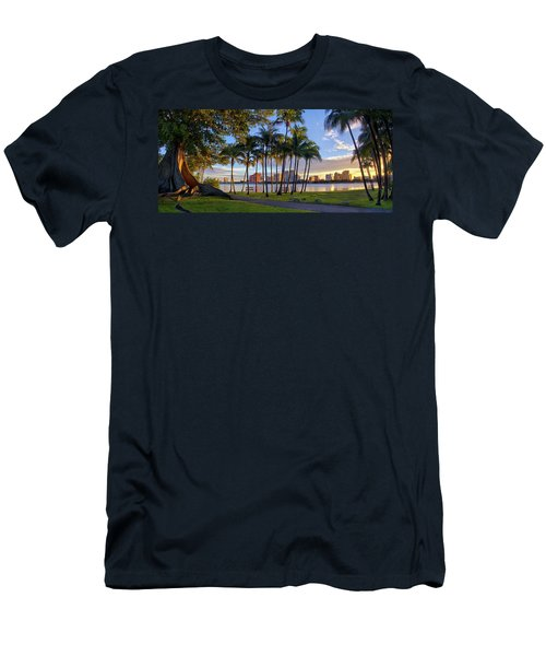 Sunset Over Downtown West Palm Beach From Palm Beach Island Men's T-Shirt (Athletic Fit)