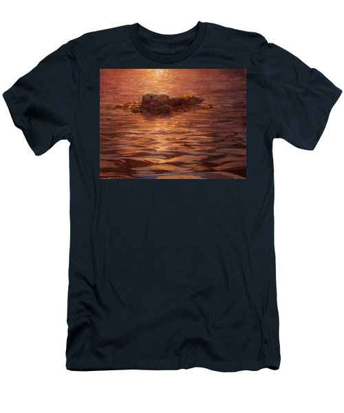 Sunset Snuggle - Sea Otters Floating With Kelp At Dusk Men's T-Shirt (Slim Fit) by Karen Whitworth
