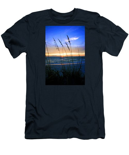 Sunset Thru The Sea Oats At Delnor Wiggins Men's T-Shirt (Slim Fit) by Robb Stan