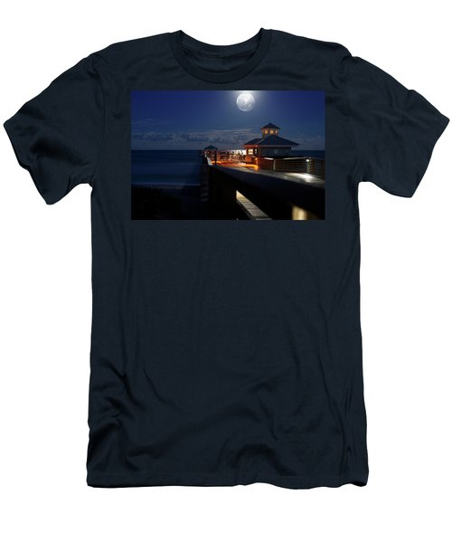 Men's T-Shirt (Slim Fit) featuring the photograph Super Moon At Juno Pier by Laura Fasulo