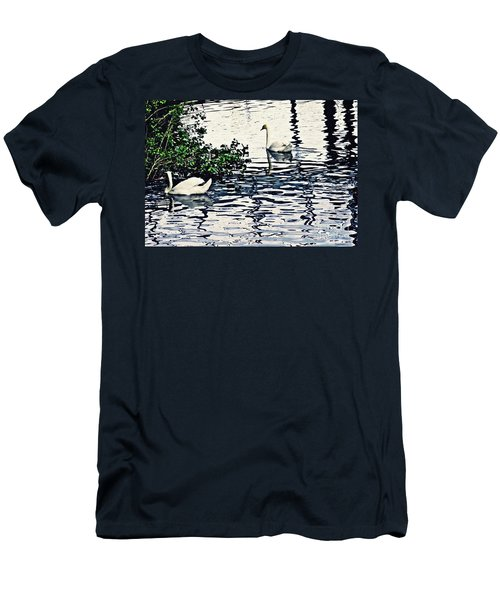 Men's T-Shirt (Slim Fit) featuring the photograph Swan Family On The Rhine 3 by Sarah Loft
