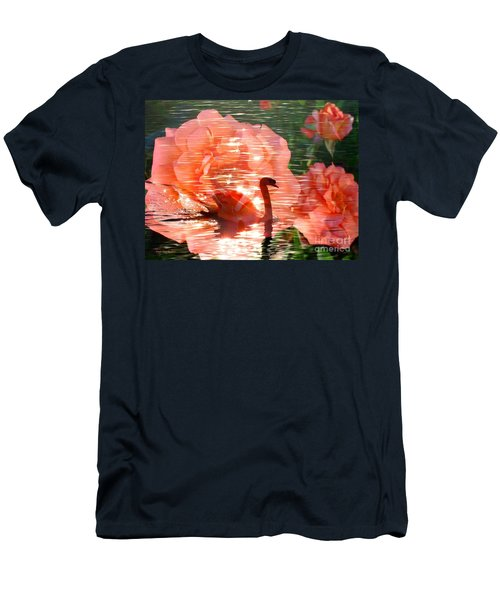 Swan In Lake With Orange Flowers Men's T-Shirt (Slim Fit) by Annie Zeno