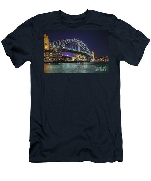 Sydney Harbor Bridge At Night Men's T-Shirt (Athletic Fit)