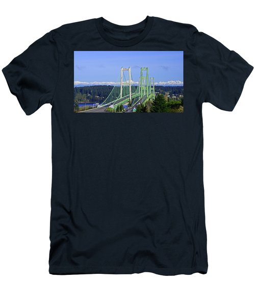 Tacoma Narrows Bridge With Olympic Mountains Men's T-Shirt (Athletic Fit)