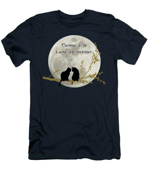 T'aime A La Lune Et Retour Men's T-Shirt (Slim Fit) by Linda Lees