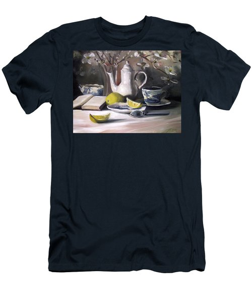 Men's T-Shirt (Slim Fit) featuring the painting Tea With Lemon by Nancy Griswold
