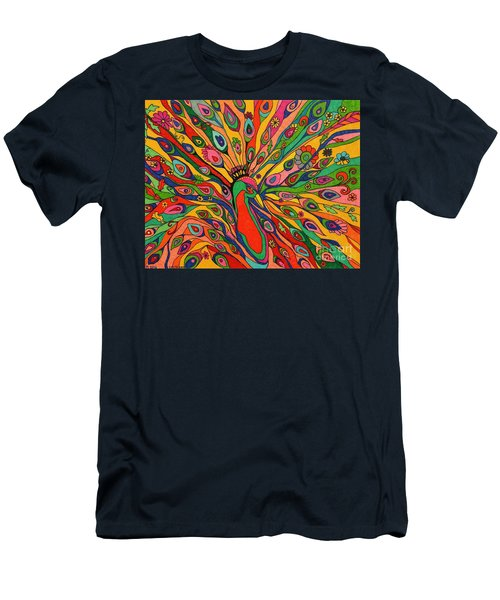 That Bloomin Peacock Men's T-Shirt (Slim Fit) by Alison Caltrider