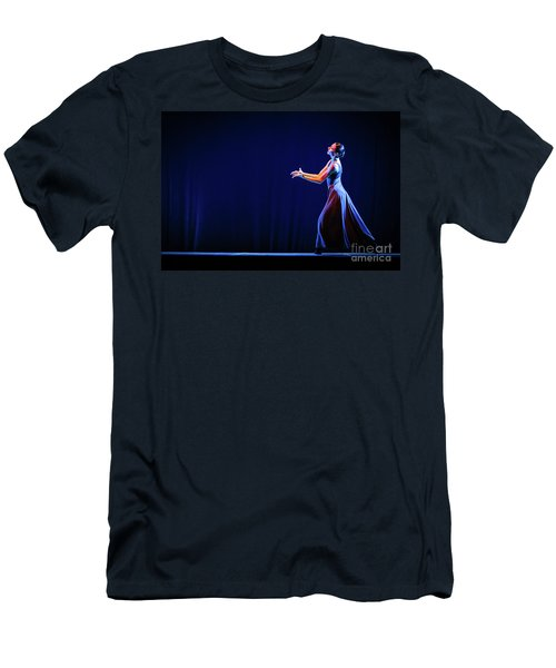 Men's T-Shirt (Athletic Fit) featuring the photograph The Beautiful Ballerina Dancing In Blue Long Dress by Dimitar Hristov
