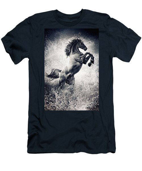 The Black Stallion Arabian Horse Reared Up Men's T-Shirt (Athletic Fit)