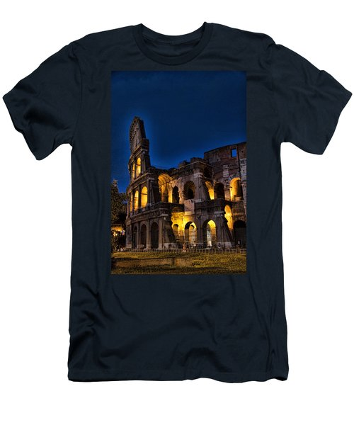 The Coleseum In Rome At Night Men's T-Shirt (Slim Fit) by David Smith