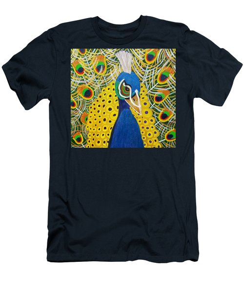 Men's T-Shirt (Slim Fit) featuring the painting The Eye Of The Peacock by Margaret Harmon