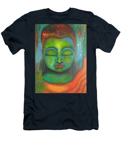 Men's T-Shirt (Slim Fit) featuring the painting The Green Buddha by Prerna Poojara