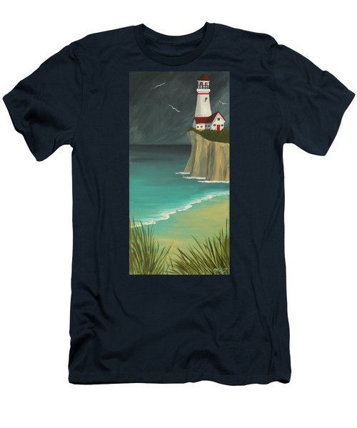The Lighthouse On The Cliff Men's T-Shirt (Athletic Fit)