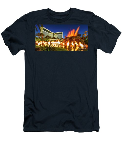 The Mirage Casino And Volcano Eruption At Dusk Men's T-Shirt (Slim Fit) by Aloha Art