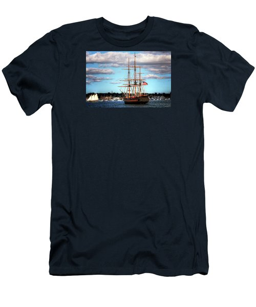 Men's T-Shirt (Slim Fit) featuring the photograph Tall Ship The Oliver Hazard Perry by Tom Prendergast
