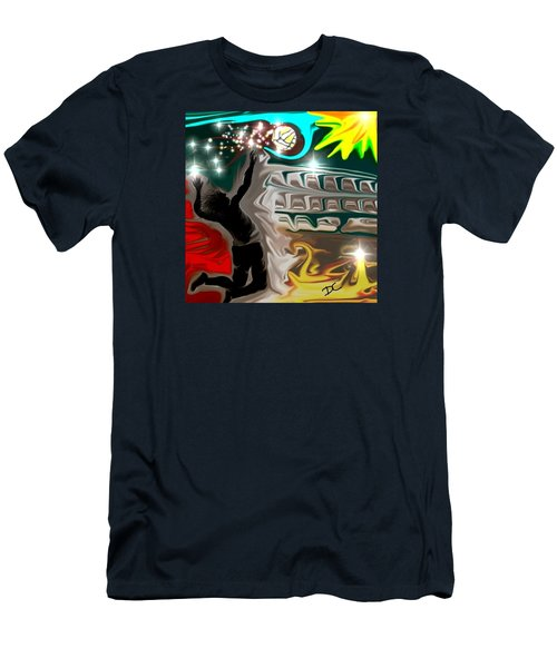 Men's T-Shirt (Athletic Fit) featuring the digital art The Power Of Volleyball by Darren Cannell