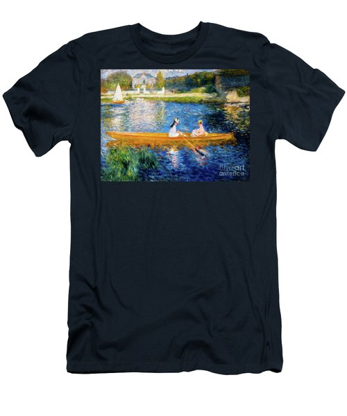 Men's T-Shirt (Athletic Fit) featuring the painting Renoir Boating On The Seine by Auguste Renoir