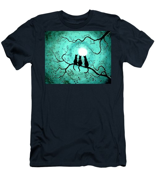 Three Black Cats Under A Full Moon Men's T-Shirt (Slim Fit) by Laura Iverson