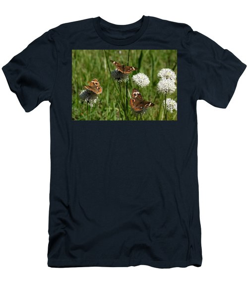 Three Buckeye Butterflies On Wildflowers Men's T-Shirt (Athletic Fit)