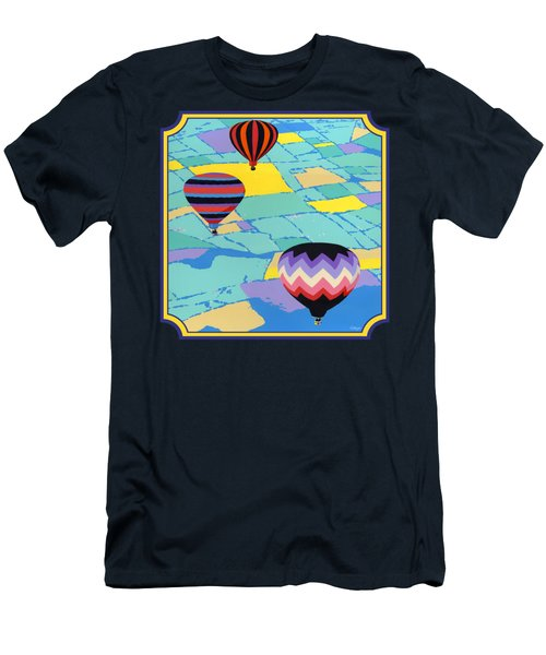 Three Hot Air Balloons Arial Absract Landscape - Square Format Men's T-Shirt (Athletic Fit)