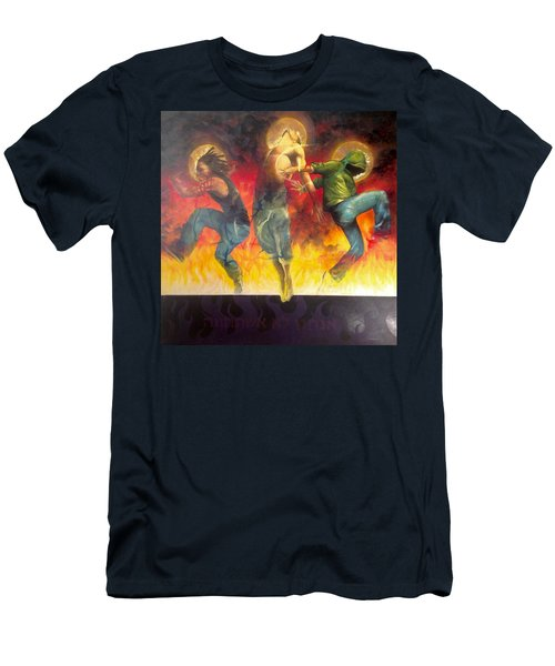 Men's T-Shirt (Slim Fit) featuring the painting Through The Fire by Christopher Marion Thomas
