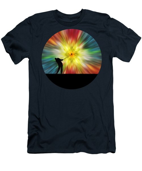 Tie Dye Silhouette Golfer Men's T-Shirt (Slim Fit) by Phil Perkins