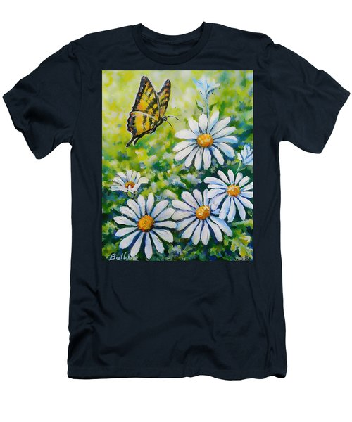 Tiger And Daisies  Men's T-Shirt (Athletic Fit)