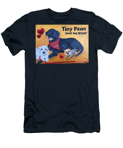 Tiny Paws Small Dog Rescue Men's T-Shirt (Slim Fit) by Sharon Schultz