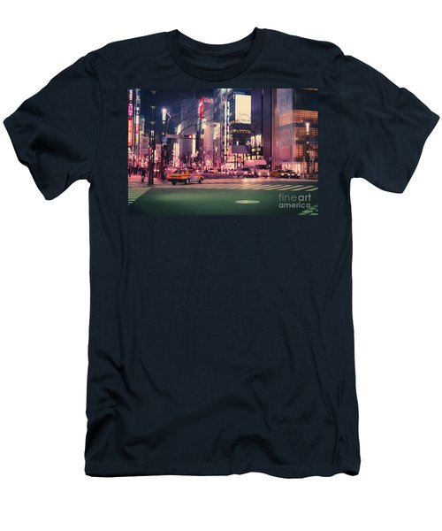 Tokyo Street At Night, Japan 2 Men's T-Shirt (Athletic Fit)