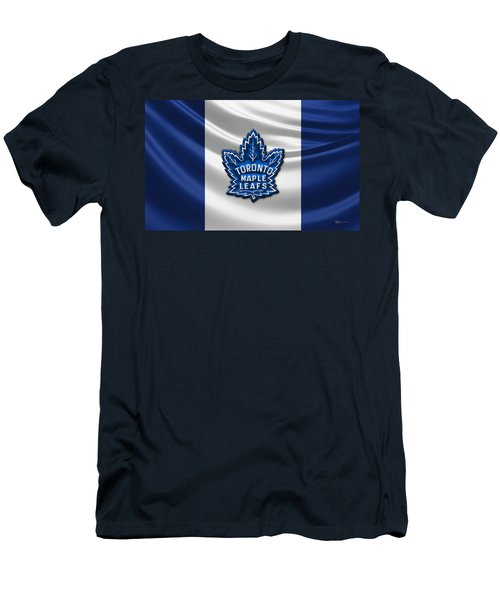 Toronto Maple Leafs - 3d Badge Over Flag Men's T-Shirt (Athletic Fit)