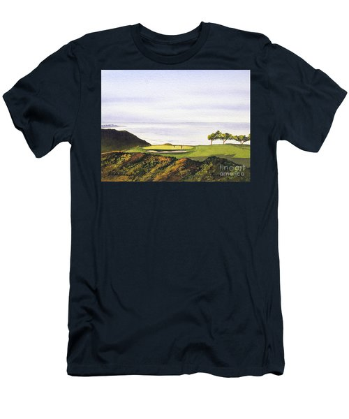 Men's T-Shirt (Athletic Fit) featuring the painting Torrey Pines South Golf Course by Bill Holkham