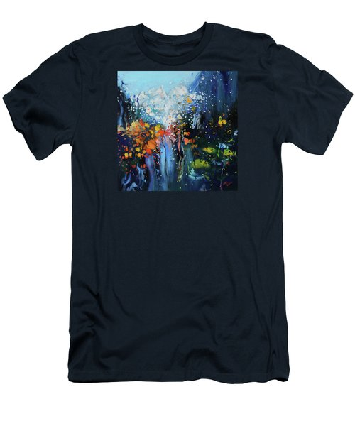 Men's T-Shirt (Slim Fit) featuring the painting Traffic Seen Through A Rainy Windshield by Dan Haraga