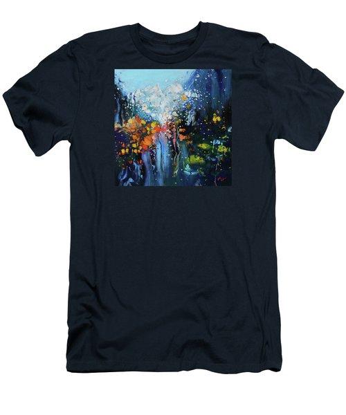 Traffic Seen Through A Rainy Windshield Men's T-Shirt (Slim Fit) by Dan Haraga